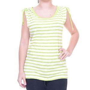 NWT MICHAEL Kors Lime Stripe Cold-Shoulder top